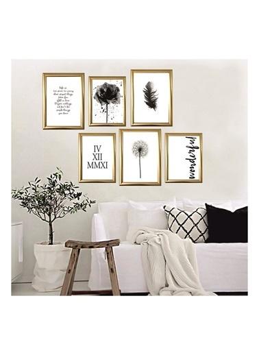 Lyn Home & Decor Wonderful Çerçeveli 6 Lı Poster Tablo 4 Adet 23,5X33,5 Ve 2 Adet 17,5X23,5 Altın